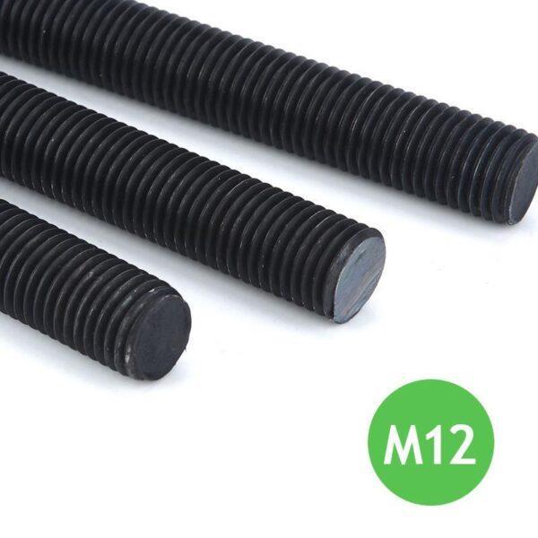 Шпилька резьбовая М12 х 1000 х 1.75 - 12.9 черная высокопрочная